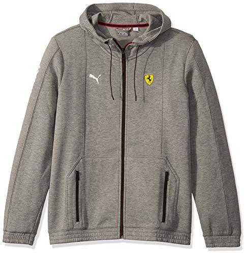 PUMA Mens Formula 1 Scuderia Ferrari Hooded Sweat Jacket, Gray/Spectra Yellow, L