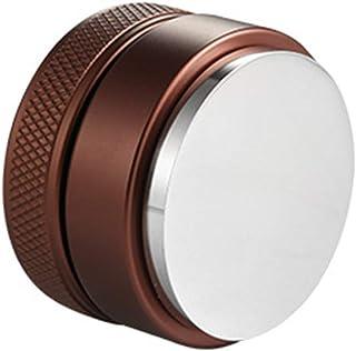 コーヒーディストリビューター、ステンレス鋼のエスプレッソ分配ツール、コーヒーディストリビューターツール、コーヒーディストリビューターレベラー,Brown flat bottom,49mm