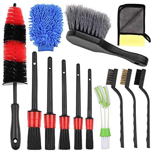 Cepillos de Limpieza para Coche 13PCS Kit Limpieza Coche Cepillos para Vehículos...