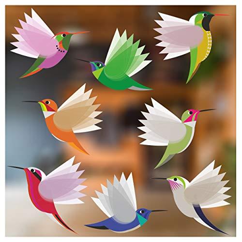 Stickers4 Vogel raamstickers ter bescherming tegen vogelaanvaring - acht grote prachtige exotische kolibrie glasstickers, dubbelzijdig en zelfklevend ter bescherming tegen vogelaanvaringen - acht grote