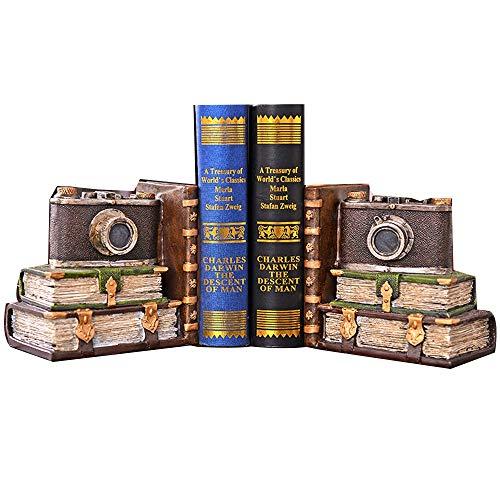 Tbaobei-Baby Bookends Antique Vintage Camera Arte Bookend, Antiscivolo Resina Bookends for Ripiani Desk Studio Decorativo, 1 Coppia Statua Bookends Bookends Classic (Color, Size : Free Size)