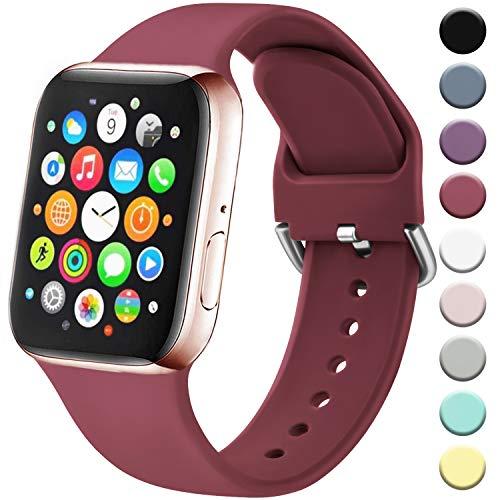 Amzpas Cinturino Compatibile per Apple Watch 38mm 40mm 42mm 44mm, Nuovo Cinturino in Silicone di Sportivo Morbido per iWatch Series 5,4,3,2,1 (38/40mm S/M, 04Rosso Vino)