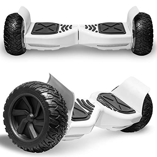 Electric All-Terrain Hoverboard for Kids and Adults 8.5 Two Wheels Off Road Hover Board Smart self Balancing Scooter with Built in Speaker LED Lights (8.5'' Wheel White)