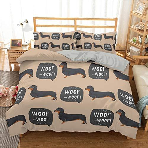 JCNHXD Cute Dachshund Sausage Bedding Set Cartoon Dog Kids Duvet Cover Set Pet Printed Bedspread xb601-2 EU Double 200x200cm