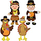 Gift Boutique 36' Thanksgiving Wall Decoration Jointed Figures, Pack of 4 Harvest Autumn Fall Banners Boy and Girl Pilgrim and 2 Turkeys