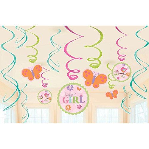 6 Hängedeko-Wirbel mit Deko-Schildern Tweet Baby Pink