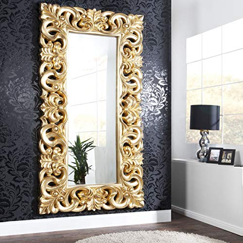 cagü: XXL ROMANTISCHER WANDSPIEGEL SPIEGEL [FLORENCE] GOLD ANTIK in BAROCK-DESIGN aus KUNSTSTEIN 180cm x 90cm | Vertikal oder horizontal aufhängbar!