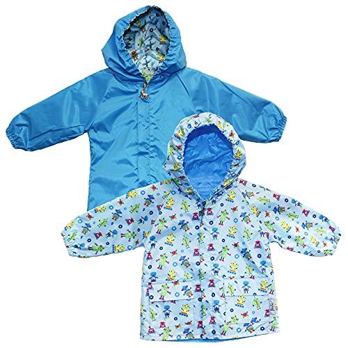 Frenchie Mini Couture Hooded Raincoat for Boys, 100% Polyester Nylon, Reversible Baby Boy Rain Jacket, Blue Robot, 9-12 Mos.