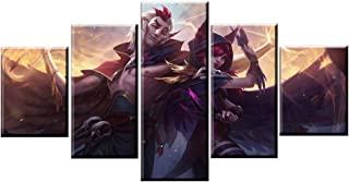 WSJXY 5 Canvas Paintings Framed 5 Panel Xayah/Rakan Game Canvas Printed Painting for Living Room Wall Art Decor HD Picture Artworks Poster