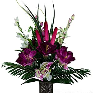 Sympathy Silks Artificial Cemetery Flowers – Realistic – Outdoor Grave Decorations – Non-Bleed Colors, and Easy Fit – Plum Amaryllis & Pink Cattail – with Flower Holder