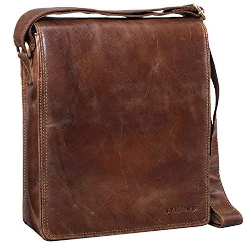 STILORD 'Lars' Vintage Umhängetasche Leder Herren für 13,3 Zoll Tablet MacBooks und iPad Schultertasche Herrentasche Messenger Bag Echtleder, Farbe:antik - braun