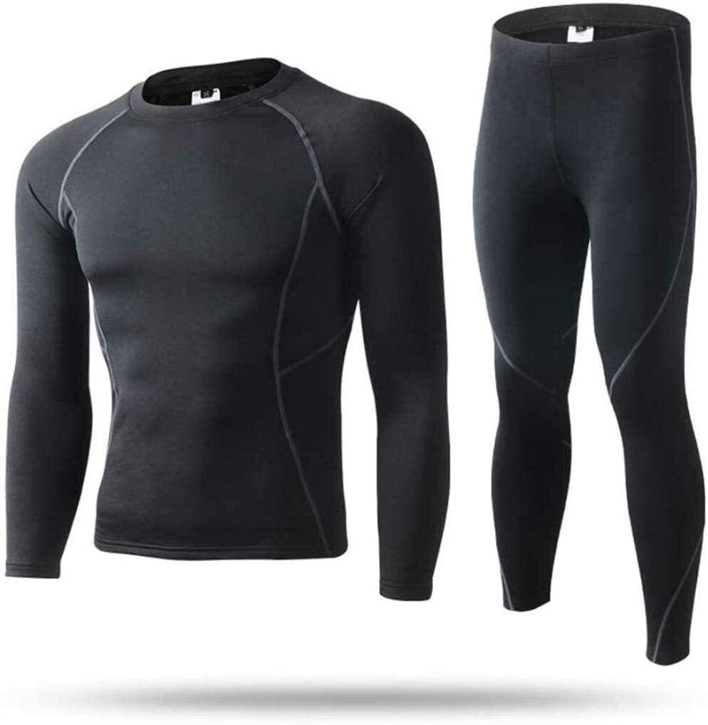 Samanthaa Fashion Thermal Underwear Men's Winter Thermal Underwear Set Thermal Underwear Base Layer Winter Wear Long Sleeve Top Pants Set for (Color : A, Size : X-Large)