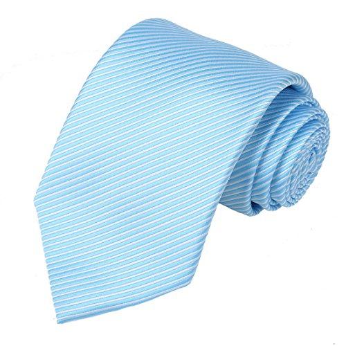 KissTies Mens Blue White Tie Striped Necktie Wedding Ties