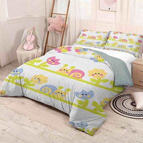 HELLOLEON (King) Kids Pure Bedding Hotel Luxury Bed Linen Cartoon Character Bees Tulip and Daisy Flowers Snails Garden Pattern Polyester - Soft and Breathable Baby Blue Pale Green Yellow