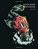 Black Paper Notebook Dot Grid: Fish wearing gas mask in polluted water Cover 8.5 x 11 Reverse Color Journal With Black Pages To Write, Draw And Sketch - For Gel, Ink, Pens, Metallic, Markers 100 Pages