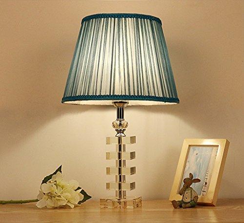 SKC Lighting-lampe de table Lampe de table Lampe en cristal Chambre à rayons en cristal Lampe de table à cadran en bois / E27 (bleu)