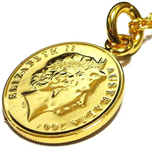 オーストラリア 5セント 18金 18K コーティング コイン ネックレス チェーン ペンダント チェーン ゴールド アンティーク (50)