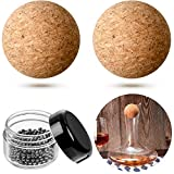 2 Pieces 2.4 Inch Wine Bottle Cork Balls and 300 Pieces Steel Cleaning Beads Wooden Cork Ball Stopper for Wine Bottle Decanter Replacement