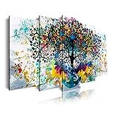 DekoArte 562 - Cuadros Modernos Impresión de Imagen Artística Digitalizada | Lienzo Decorativo Para Tu Salón o Dormitorio | Paisaje Árbol Colores en fondo Blanco | 5 Piezas 150 x 80 cm