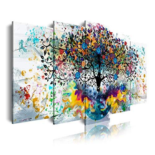 DekoArte 562 - Cuadros Modernos Impresión de Imagen Artística Digitalizada   Lienzo Decorativo Para Tu Salón o Dormitorio   Paisaje Árbol Colores en fondo Blanco   5 Piezas 150 x 80 cm
