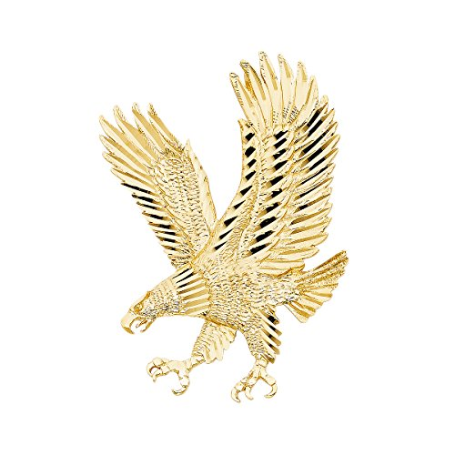 14K Yellow Gold Eagle Pendant - Height 62 MM Width 43 MM