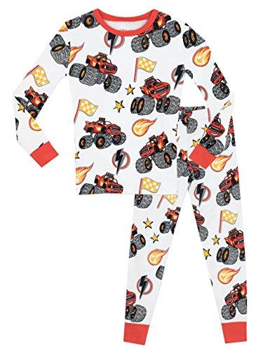 Blaze est le Monster Machine - Ensemble De Pyjamas - Blaze & the Monster Machines - Garçon - Bien Ajusté - Blanc - Taille 3 - 4 Ans