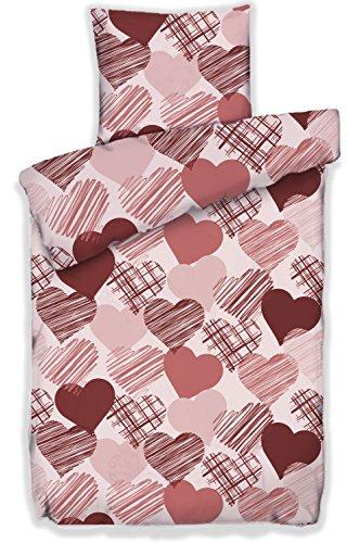 Pöller Bettwäsche Herz Blatt ca.135x200 und 80x80 cm Farbe Marsala-Rose Garnitur mit Herzen