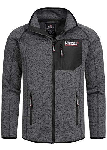 Geographical Norway Herren Fleece Jacke Zip Sweater Chest Zip-Pocket Sleeve embo schräge Zipper Taschen Stehkragen, dunkel grau, Gr:L