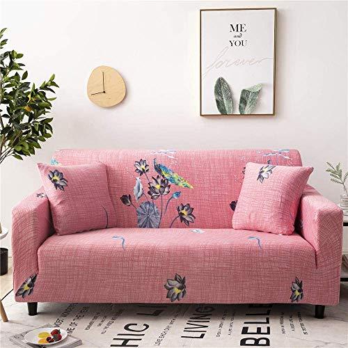 ZHBH Funda de sofá elástica de tela elástica rosa loto silla sofá sofá sofá sofá fundas – Poliéster Spandex impreso sofá fundas de sofá funda protectora de muebles con 1 funda de almohada (1 plaza)