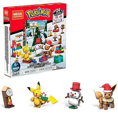 Mega Construx GPV08 - Mega Construx Pokémon Adventskalender mit 24 Türchen, enthält 2 bewegliche Pokémon-Figuren zum Selberbauen, Spielzeug ab 6 Jahren