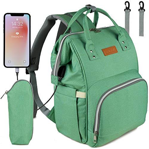 NEVEQ Baby Wickelrucksack, Babytasche für Reise, Wickeltasche Große Kapazität, Multifach Reise Rucksack Wasserdicht Fächer Babyflaschehälter (Hellgrün)