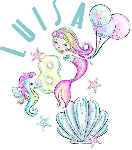 wolga-kreativ Bügelbild Applikation Aufbügler 1 2 3 4 5 6 Geburtstag Meerjungfrau Seepferdchen Name Buchstaben Zahl Mädchen zum selbst Aufbügeln A5 Geburtstagsshirt Kindergeburtstag Bügelbilder Kinder