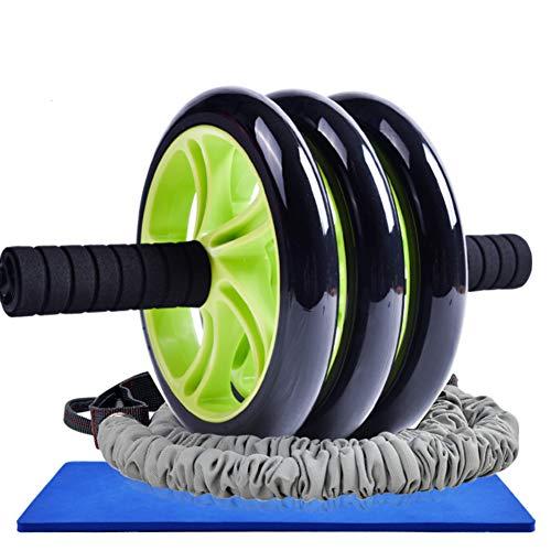 Still Bauchmuskeltrainer, Robust Bauch Trainer Rutschfester Trommel DREI Räder Mit Pad -grün 20x33cm(8x13inch)