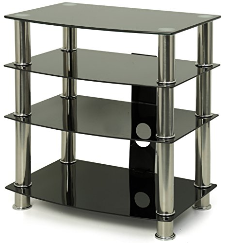 Centurion Supports GTS6 4-Shelf Gloss Black with Silver Legs Flat Screen TV/Hi-Fi/AV Rack Glass Stand by Centurion Supports