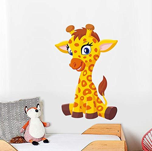 Zshhy Nettes Giraffenbaby-Wandaufkleberkinderkarikatur-Tieraufkleberkindergartenwohnzimmer-Schlafzimmerausgangsdekorationvinyl30 * 46Cm