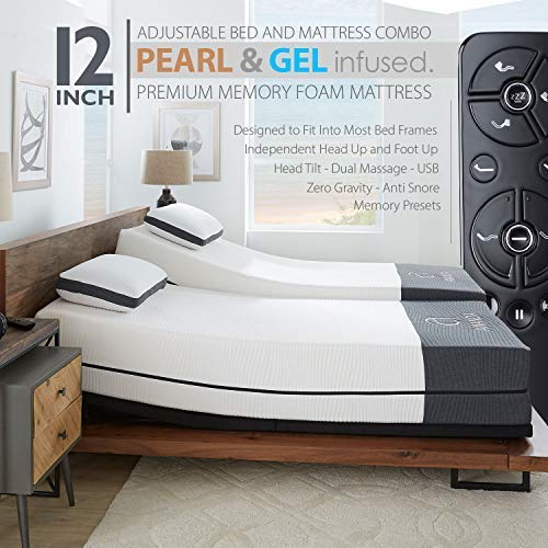 "Ananda 12"" Cal King Split Pearl and Cool Gel Infused Memory Foam Mattress with Premium Adjustable Bed Frame Combo, Head Tilt, Alexa Voice Command, Massage, USB, Zero Gravity,Anti-Snore"