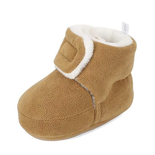 MASOCIO Baby Winterschuhe Mädchen Junge Babyschuhe Winter Baby Lauflernschuhe Boots Winterstiefel Schuhe Khaki Größe 20 12-18 Monate