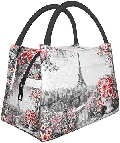 Torre Eiffel y flores, bolsas multifuncionales para el almuerzo, bolsa térmica reutilizable, contenedor de almuerzo, bolsa aislante portátil