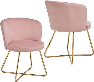 2X Silla de Comedor de Tela (Terciopelo) diseño Retro Silla tapizada Vintage sillón con Patas de Metal seleccion de Color ...