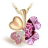 Joyfulshine Collar Mujer Rosa Cristales Trébol Colgante Forma del Corazón Oro 18K Plateado,Regalo De La Suerte para La Mchacha Y La Señora