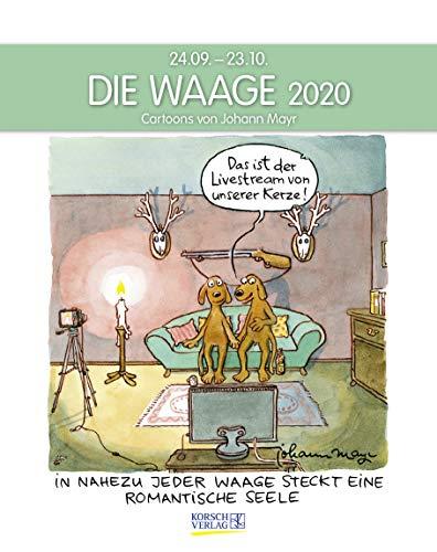 Waage 2020: Sternzeichenkalender-Cartoonkalender als Wandkalender im Format 19 x 24 cm.
