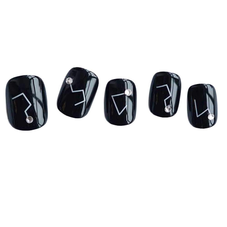 知事旋律的前任者星座 - 黒い短い偽の指爪人工爪の装飾の爪のヒント