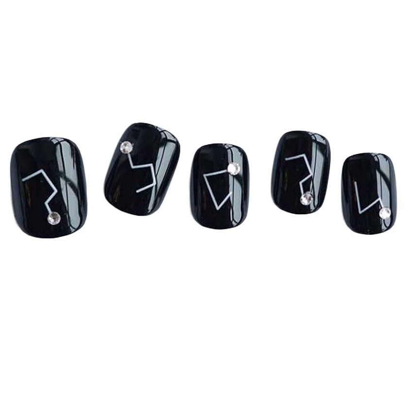スキャン通り抜ける作成する星座 - 黒い短い偽の指爪人工爪の装飾の爪のヒント