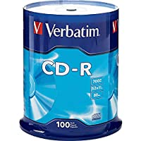 Verbatim 94554 700 MB 52x 80 Minute Branded Recordable Disc CD-R, 100-Disc Spindle