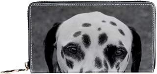 Women's Zip Around Wallet and Phone Clutch,Dalmation Dog Print,Travel Purse Leather Clutch Bag Card Holder Organizer Wristlets Wallets