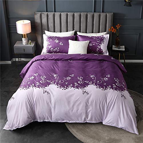 Nicole Knupfer bed linen set, 100 % super microfibre, elegant bell orchid patterns, duvet cover with zip and 50 x 70 cm pillowcases., purple, 200x200cm+50x70cm*2