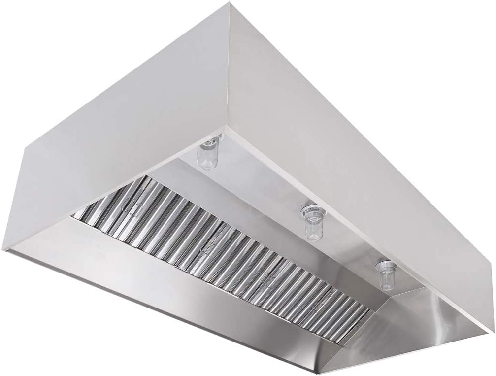 """High Temperature Light Fixtures Wall Canopy Stainless Steel Exhaust Hood with Baffle Hood Filters Commercial Kitchen Restaurant Duty Exhaust Hood 4 Long Hood and 10/"""" Round Exhaust Riser"""