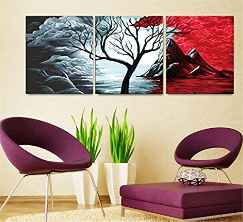 YEESAM ART Neuerscheinungen Malen nach Zahlen 3 teilig bilder für Erwachsene - Donner Wolke Baum 16 * 20 Zoll Leinen Segeltuch - DIY ölgemälde ölfarben Weihnachten Geschenke (Mit Rahmen)
