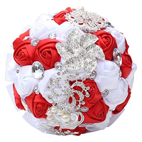 Yuhualiyi123 Neue Hochzeitsrhinestone Braut welche die künstlichen Blumen Wedding Supplies Props Holding Fake Flowers hält 1 Bündel