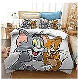 XWXBB Tom and Jerry - Juego de ropa de cama infantil, microfibra, impresión...